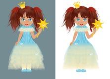 La piccola principessa con una bacchetta magica Immagine Stock