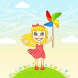 La piccola ragazza allegra gioca una girandola Immagini Stock Libere da Diritti
