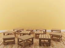 La piccola sedia interna nella progettazione della stanza in 3D rende l'immagine Immagine Stock