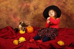 La piccola strega sta divertendosi per Halloween con le zucche ed il cappello Immagine Stock