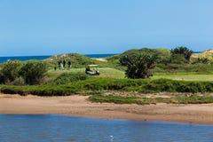 La Pièce en t-boîte de joueurs de golf lie le trou Images libres de droits