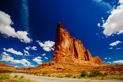 La piedra arenisca del órgano, arcos parque nacional, Utah, los E.E.U.U. Fotografía de archivo