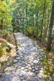 La piedra camina llevando abajo al río en Arashiyama Foto de archivo