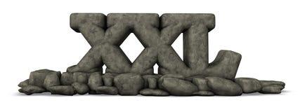 La piedra pone letras al xxl en el fondo blanco Fotografía de archivo libre de regalías