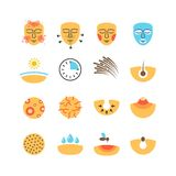 La piel, problemas de la cara, tratamiento del acné, protege iconos del vector Foto de archivo