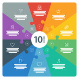 La piena pagina numerata spettro piano dell'arcobaleno ha colorato la presentazione di puzzle grafico infographic con il giacimen Immagini Stock Libere da Diritti