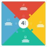 La piena pagina numerata spettro piano dell'arcobaleno ha colorato la presentazione di puzzle grafico infographic con il giacimen Fotografia Stock