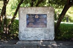 La pierre commémorative pour Jacques Cartier en parc royal de bâti à Montréal, Québec, Canada image stock