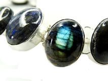 La pierre gemme de Labradore perle des bijoux de collier Images libres de droits