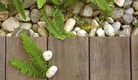 La pietra del ciottolo e della felce sul pavimento di legno struttura la vista superiore per il prodotto Immagine Stock