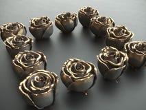 La pietra nera del nero del fiore dell'oro è aumentato su un fondo nero 3d rendono Immagini Stock
