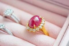 La pietra preziosa vermiglia del diamante dell'argento e dell'oro suona in contenitore di gioielli Fotografia Stock Libera da Diritti