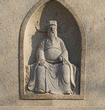 La pietra scolpita antica dei caratteri cinesi Fotografie Stock Libere da Diritti