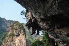 La pietra sulla roccia assomiglia all'le gambe d'attaccatura, baia di Halong Immagini Stock Libere da Diritti