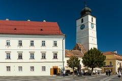 La pieza superior de la ciudad del centro histórico de Sibiu Fotos de archivo libres de regalías