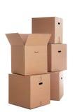 La pila de cajas de cartón aisló Fotografía de archivo libre de regalías