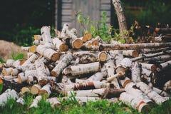 La pila de corte de madera del fuego del abedul en verano, la naturaleza y el bosque cuidan concepto Imagen de archivo libre de regalías
