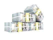 La pila de dólar en los cuatro paquetes izquierdos de 3d rinde en el backgr blanco ilustración del vector