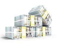 La pila de dólar en los cuatro paquetes izquierdos de 3d rinde en el backgr blanco stock de ilustración