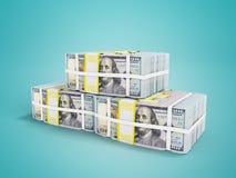 La pila de dólares tres paquetes en 3d delantero rinde en backgrou azul stock de ilustración