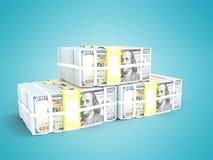 La pila de dólares tres paquetes en el frontal izquierda 3d rinde en el CCB azul libre illustration