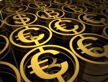 La pila de diversas monedas contiene de bitcoin, de dólar y de euro Muestras financieras del éxito La alta calidad 3d rinde Stock de ilustración