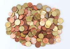 La pila de euro acuña la opinión del tio Fotos de archivo libres de regalías