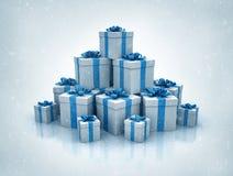 La pila de las cajas de regalo azules 3d de alta calidad rinde Fotos de archivo libres de regalías