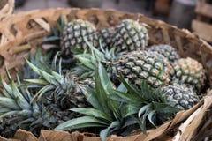 La pila de piñas orgánicas tropicales da fruto en la cesta para la venta en el mercado del granjero del tradtional de la isla de  Imagen de archivo