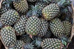 La pila de piñas orgánicas tropicales da fruto en la cesta para la venta en el mercado del granjero del tradtional de la isla de  Imagen de archivo libre de regalías