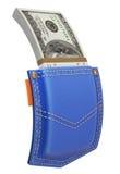 La pila di dollari in blue jeans appoggia la tasca Fotografie Stock