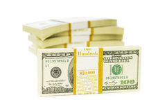 La pila di dollari ha isolato Fotografia Stock