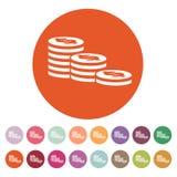 La pila di icona delle monete Dollaro, soldi, moneta, simbolo della banca piano Fotografie Stock
