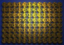 La pila di monete differenti contiene di bitcoin, del dollaro e dell'euro Segni finanziari di successo L'alta qualità 3d rende royalty illustrazione gratis