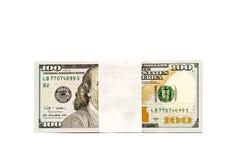 La pila di soldi in cento banconote del dollaro ha isolato lo spazio della copia Fotografia Stock Libera da Diritti