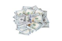 La pila di soldi nei dollari americani dentro incassa cento banconote in dollari Fotografia Stock