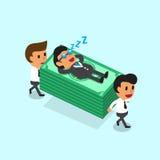 La pila di trasporto dei soldi del gruppo di affari del fumetto ma il capo di affari cade addormentato Fotografia Stock Libera da Diritti