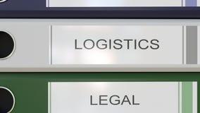 La pila vertical de carpetas multicoloras de la oficina con departamentos corporativos marca con etiqueta libre illustration