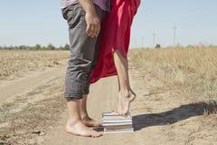 La pile d'aides de livres dans l'amour images libres de droits