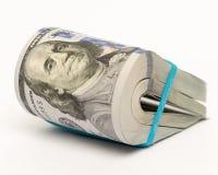 La pile d'argent en des dollars US encaissent des billets de banque Photos stock