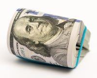 La pile d'argent en des dollars US encaissent des billets de banque Photos libres de droits