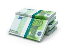 La pile de 100 euro billets de banque affiche des paquets Image libre de droits