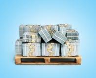 La pile de factures d'argent du dollar sur la palette en bois 3d rendent sur b bleu Photo stock