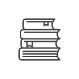 La pile de livres rayent l'icône, signe de vecteur d'ensemble, pictogramme linéaire de style d'isolement sur le blanc illustration stock