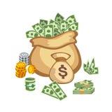 La pile de papier d'argent de finances d'affaires du dollar dans le sac des paquets nous édition d'opérations bancaires et factur Photo stock