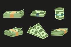 La pile de papier d'argent de finances d'affaires du dollar de paquets nous édition d'opérations bancaires et factures de billets Images stock