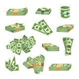 La pile de papier d'argent de finances d'affaires du dollar de paquets nous édition d'opérations bancaires et factures de billets Photographie stock