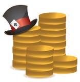 La pile de pièces de monnaie et l'illustration chanceuse de chapeau conçoivent Photographie stock