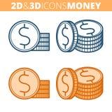 La pile de pièces de monnaie Ensemble plat et isométrique d'icône d'ensemble 3d Image stock