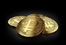 La pile de quatre crypto Rubel d'or invente la pose sur le fond noir Images libres de droits